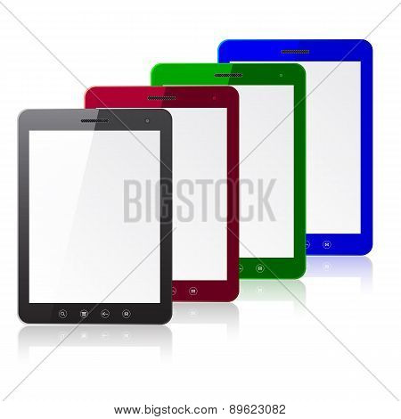 Four color tablet PC computer with blank screen