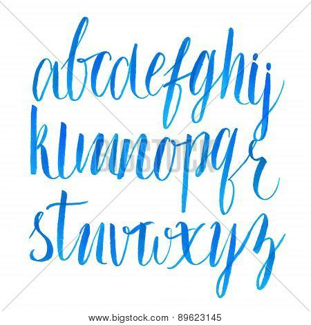 Hand drawn brush script font. Vector type.