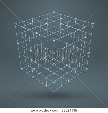 Wireframe Polygonal Element. 3D Cube With Diamonds