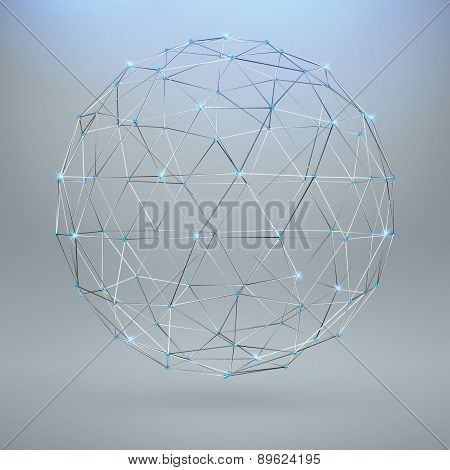 Wireframe Polygonal Element. 3D Sphere With Diamonds