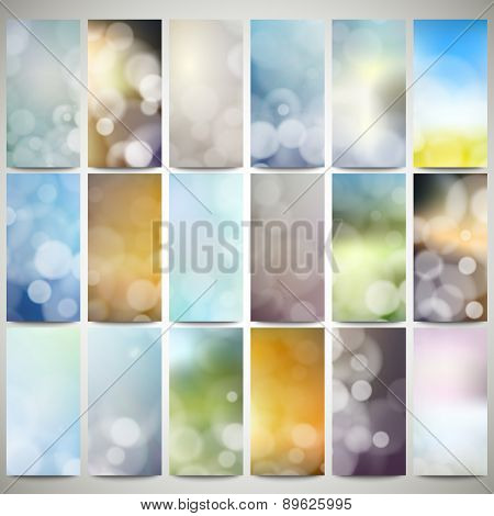 Blurry backgrounds set with bokeh effect. Abstract banners set, flyer layout vector templates