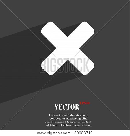 Cancel, Multiplication Icon Symbol Flat Modern Web Design With Long Shadow And Space For Your Text.