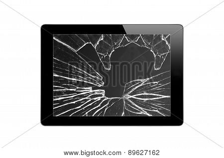 Black Touch Screen Tablet With Broken Screen Isolated On White