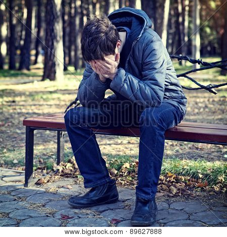 Sad Young Man Outdoor