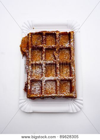 Baked Waffle With Sugar Top View