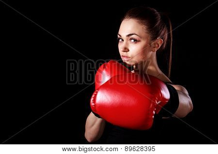 Beautiful Young Woman In Red Boxing Gloves