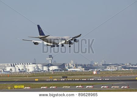 Frankfurt Airport - Cargo Aircraft Of Saudia Cargo On Final Approach