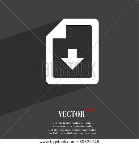 Import, Download File Icon Symbol Flat Modern Web Design With Long Shadow And Space For Your Text. V
