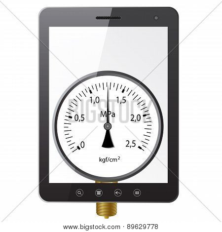 Tablet PC computer with manometer screen