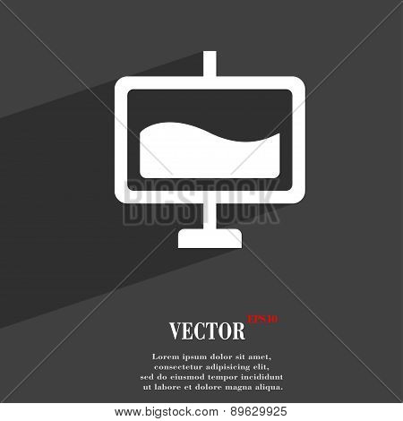 Presentation Billboard Icon Symbol Flat Modern Web Design With Long Shadow And Space For Your Text.