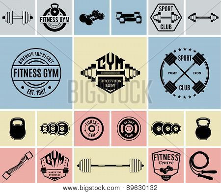 Vector Fitness and Gym Icons and Labels Templates