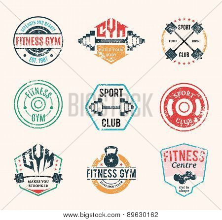Vector Grungy Fitness and Gym Labels Templates and Athletic Badges