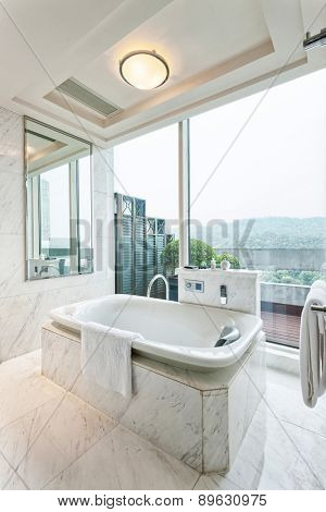 Hangzhou,China-April 22,2014:China decorated bath room in Dragon Hotel.
