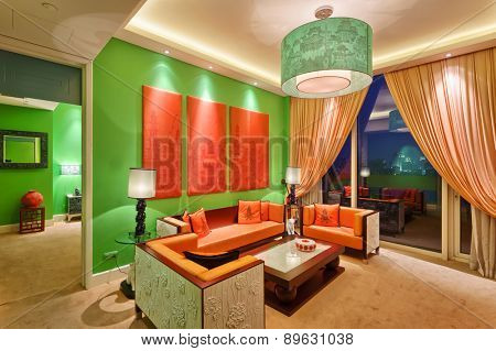 Hangzhou,China-April 22,2014: China decorated living room interior of Dragon Hotel.
