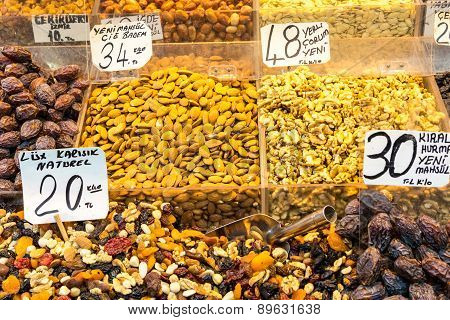 Dry fruits displayed for sale in a turkish bazaar