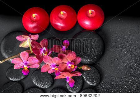 Top Down Spa Composition Of Blooming Twig Red Orchid Flower, Phalaenopsis With Water Dew And Candles