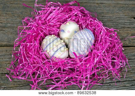 Easter cookies in pink nest
