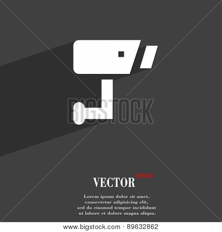 Surveillance Camera Icon Symbol Flat Modern Web Design With Long Shadow And Space For Your Text. Vec