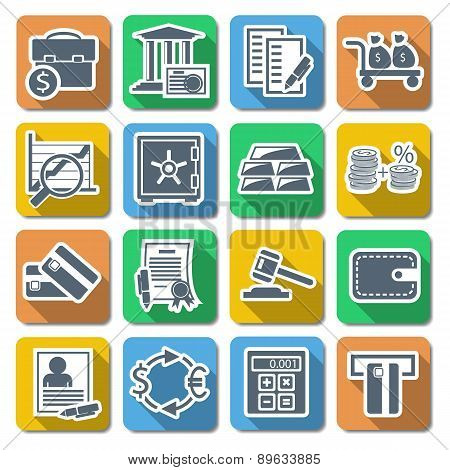 Vector Bank Flat Icons