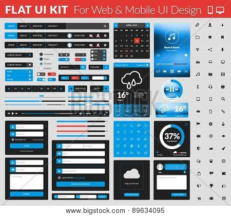 Set Of Flat Design Ui Elements For Website And Mobile Applications