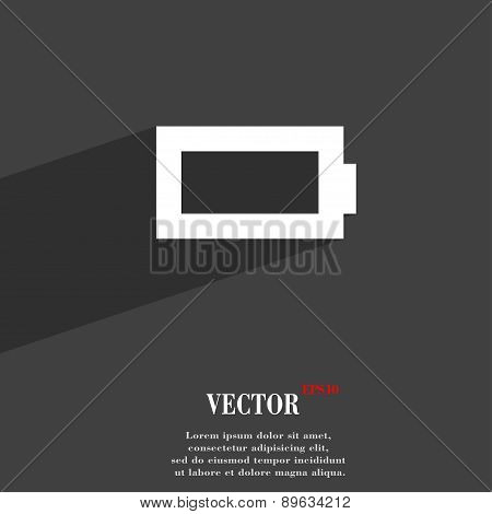 Battery Empty Icon Symbol Flat Modern Web Design With Long Shadow And Space For Your Text. Vector