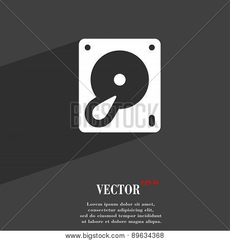 Hard Disk And Database Icon Symbol Flat Modern Web Design With Long Shadow And Space For Your Text.