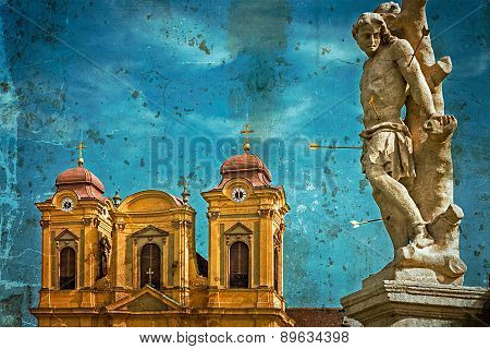 Old Postcard With German Dome And Holy Trinity Statue. Timisoara, Romania 2