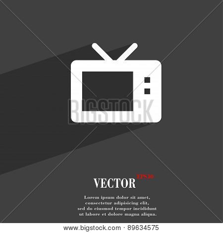 Retro Tv Mode Icon Symbol Flat Modern Web Design With Long Shadow And Space For Your Text. Vector