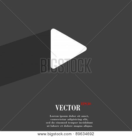 Play Icon Symbol Flat Modern Web Design With Long Shadow And Space For Your Text. Vector