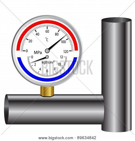 gas manometer isolated on white background