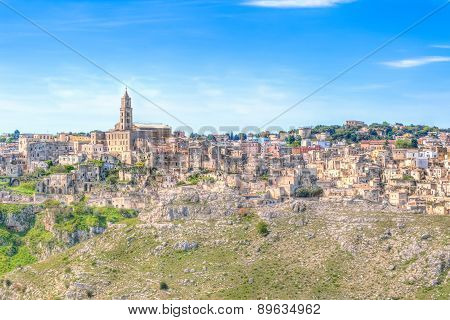View Of Matera,basilicata, Italy, Unesco Under Blue Sky