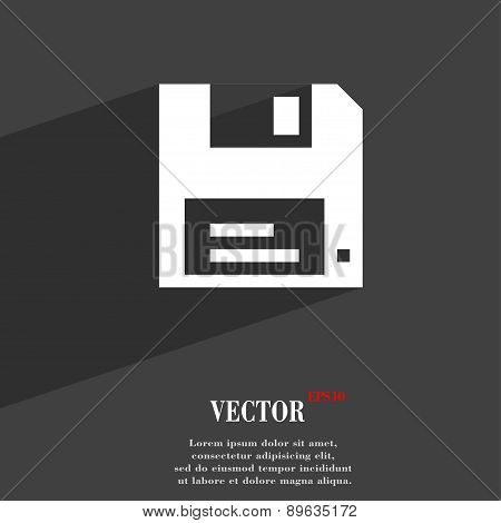 Floppy Icon Symbol Flat Modern Web Design With Long Shadow And Space For Your Text. Vector