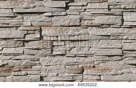 A Wall Of Limestone Slabs