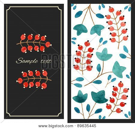 Card with berries pattern
