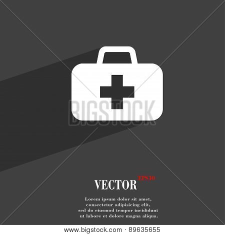 Medicine Chest Icon Symbol Flat Modern Web Design With Long Shadow And Space For Your Text. Vector