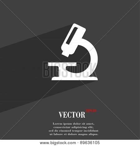 Microscope Icon Symbol Flat Modern Web Design With Long Shadow And Space For Your Text. Vector
