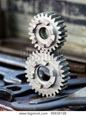 Two Interlocking Toothed Gears