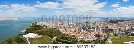 Panoramic Aerial View Of Almada Rooftop From Christo Rei Statue In  Lisbon - Portugal