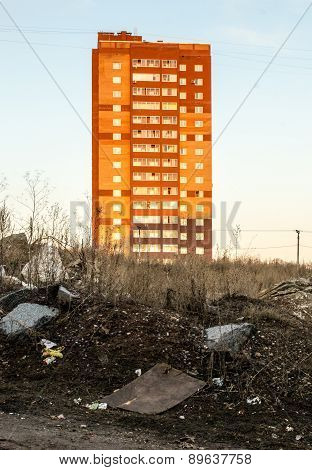 Bright Orange And Red High-rise Apartment Buildings