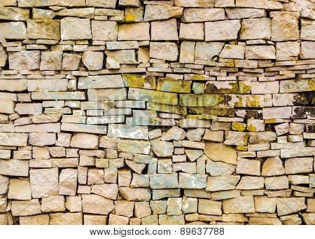 Stone Brick Wall With Paint Marks