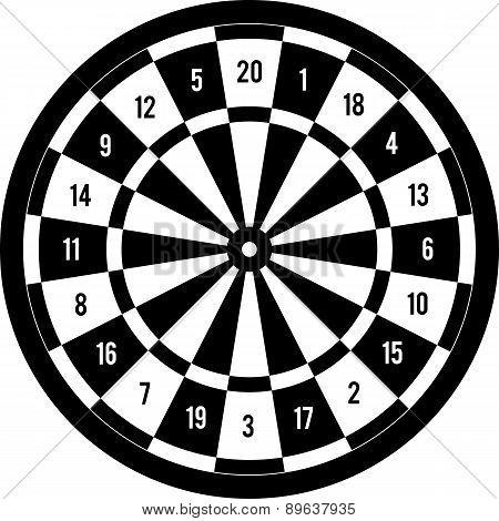 Darts target black & white