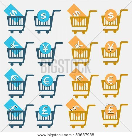 Vector Illustration Shopping Cart Icon Set