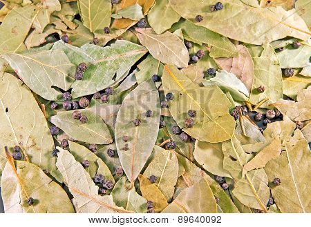 Bay leaves and peppercorns