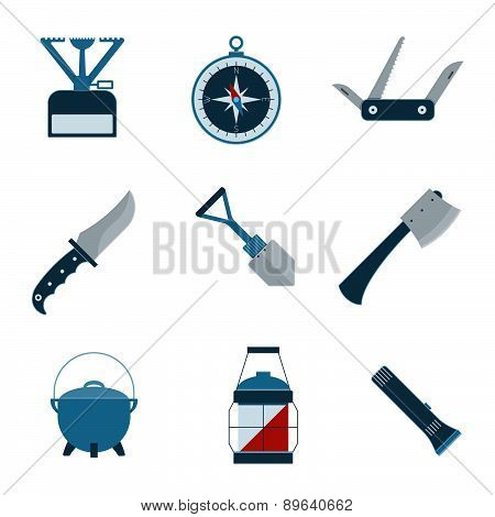 Set Of Camping Equipment Icons.