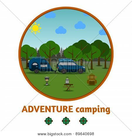 Camping Forest Background, With Stuff And Car, Flat Design.