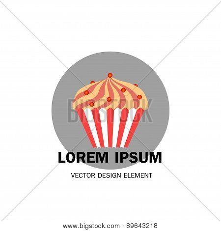 Cake Vector Concept. Design Element For Restaurant Menu Illustration Or For Logotype. Flat Design Of