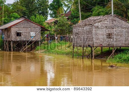Typical House On The Tonle Sap Lake,cambodia.