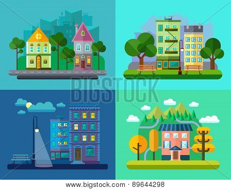 Colorful Vector Flat Urban And Village Landscapes With Nature And Mountains