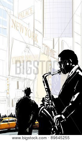 Saxophone player in a street of New York near Times Square - Vector illustration