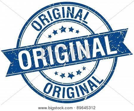 Original Grunge Retro Blue Isolated Ribbon Stamp